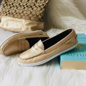 Cole Haan Gold Leather Nantucket Penny Loafer